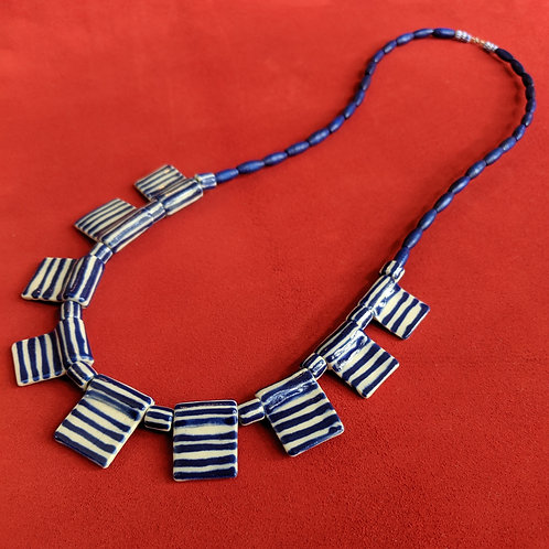Navy/White Flag Necklace