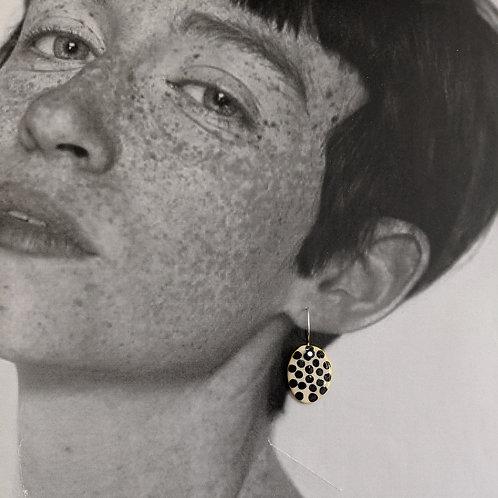Small Black Dots Ceramic Disc Earrings