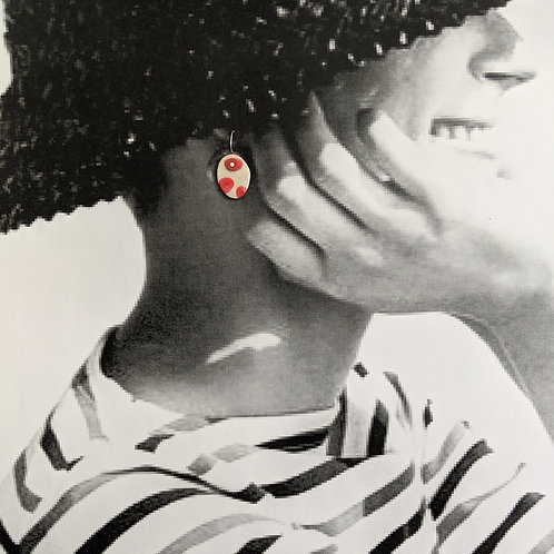 Small Red Dots Ceramic Disc Earrings