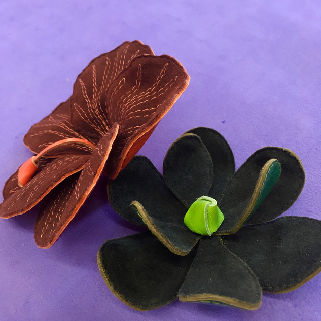 LEATHER HIBISCUS AND MAGNOLIA FLOWERS