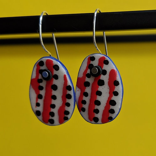 Small Red/Black Ceramic Disc Earrings