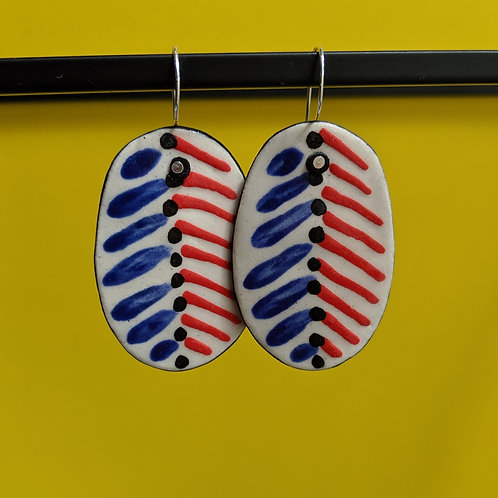 Blue/Red Chevron Ceramic Disc Earrings