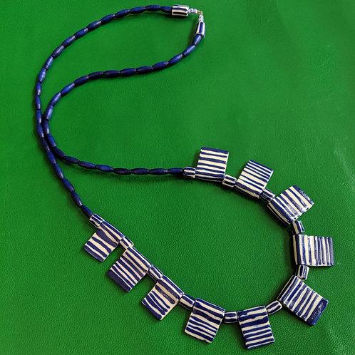 Long Blue/White Flag Necklace