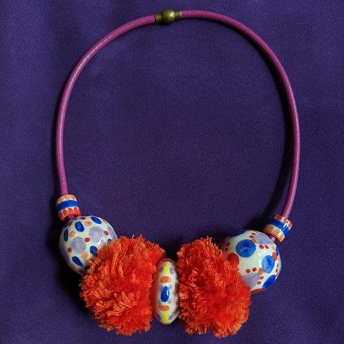 Double Pompom Necklace