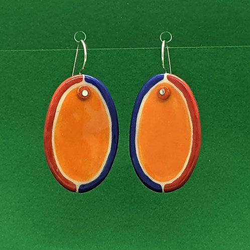 Half-Half Frame Orange Ceramic Disc Earrings