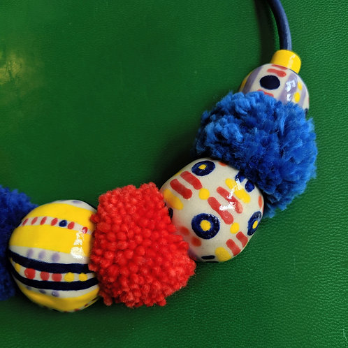 Primary Colors Pompom Necklace