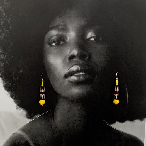Red/Yellow/Black Drop Earrings