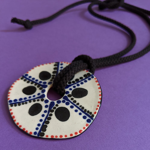 Ceramic Disc Pendant Necklace