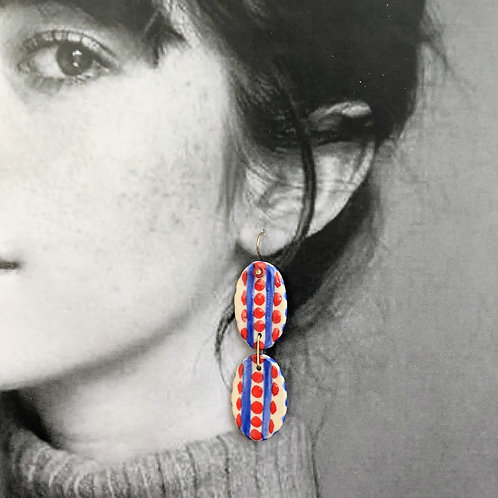 Red/Blue Double Ceramic Disc Earrings