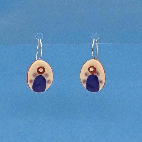 Little Blue Arch Ceramic Disc Earrings