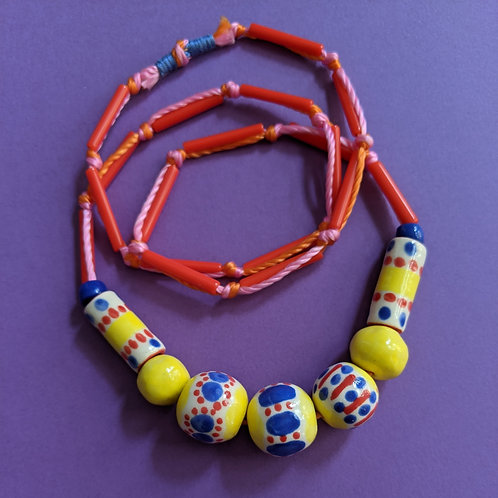 Primary Colors Beaded Necklace