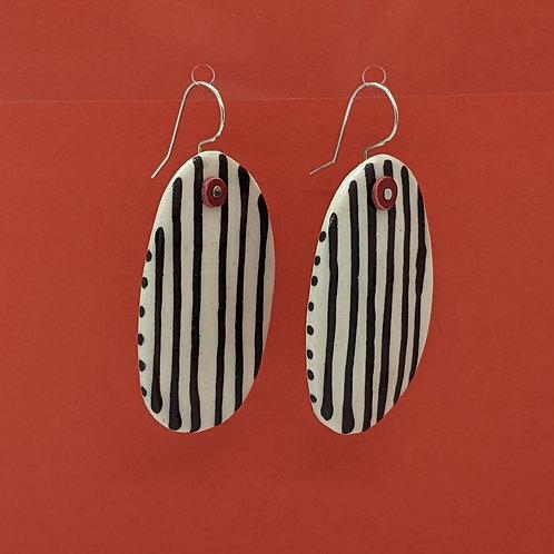 Black Stripes Ceramic Disc Earrings