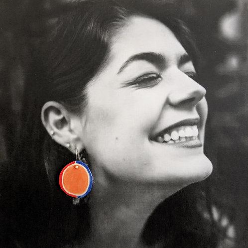 Red/Orange/Blue Ceramic Disc Earrings