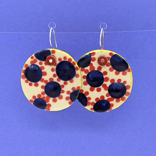 Dotted Flowers Ceramic Disc Earrings