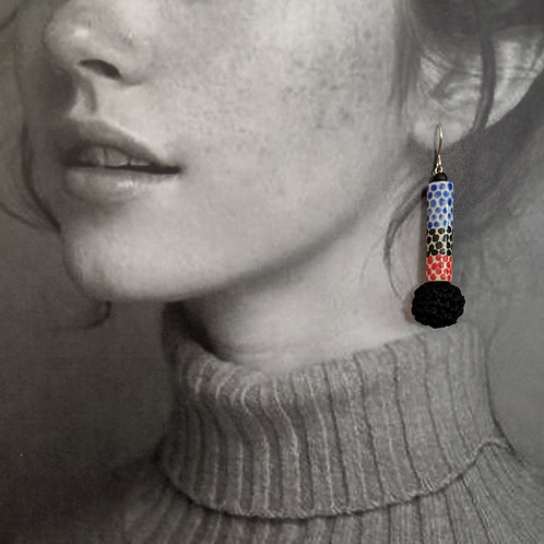 Red/Blue/Black Drop Earrings