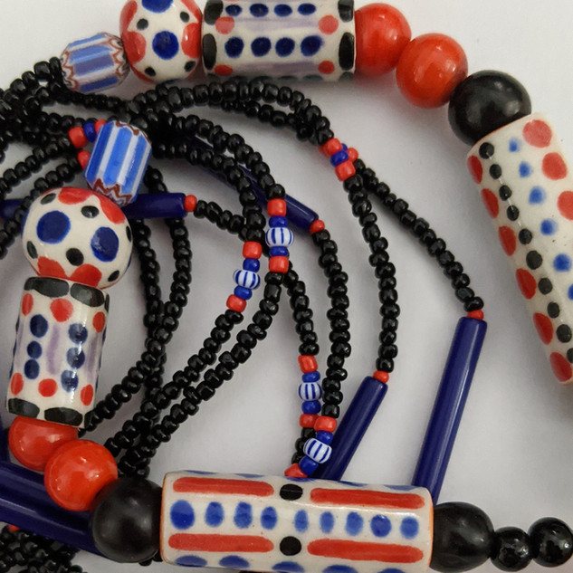 HAND BEADED CERAMIC AND GLASS NECKLACE