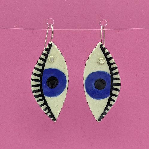 Blue Eyes Ceramic Disc Earrings
