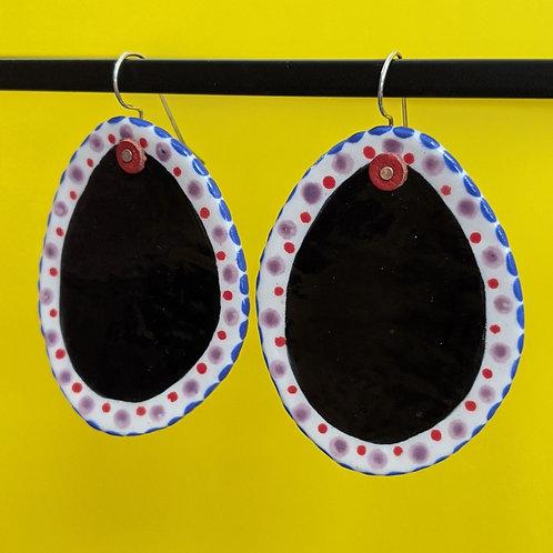 Bold Black Ceramic Disc Earrings