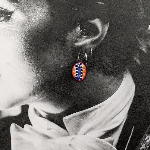 Blue/Orange/Red Dots Ceramic Disc Earrings