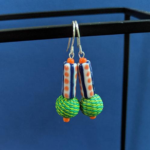 Orange/Green/Navy Drop Earrings