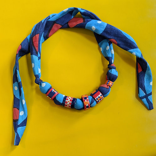 Ceramic Bead and Fabric Necklace