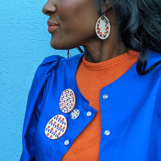 DISC BROOCHES AND EARRINGS