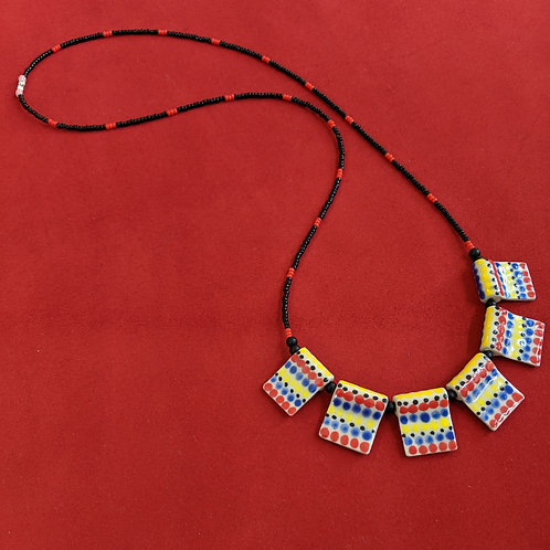 Primary Colors Flag Bead Necklace