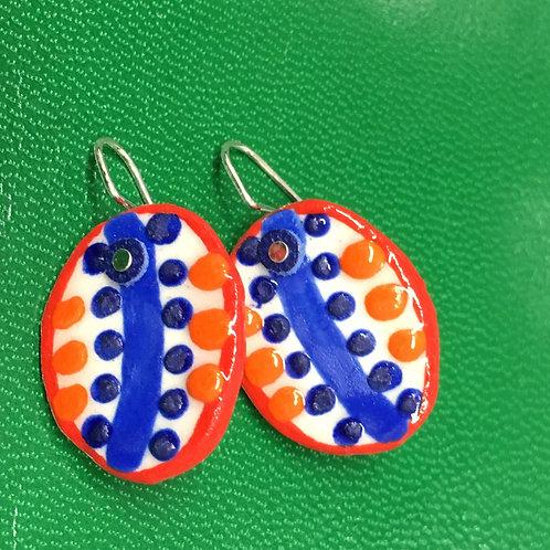 RedOrangeBlue Disc Earrings