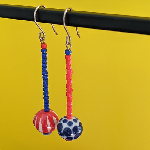 Red/Blue Mismatched Drop Earrings