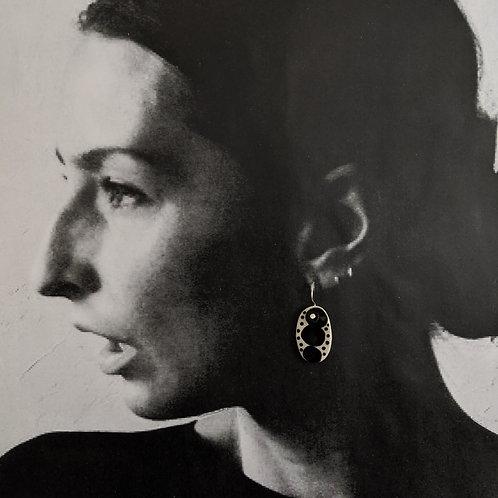 White/Black Ceramic Disc Earrings