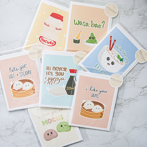 Bundle - Food Pun Series Greeting Cards (7 Cards)