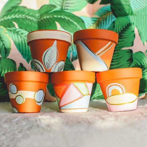 "Hand-Painted 3.5"" Terracotta Pot"