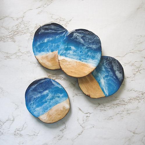 Beach Waves Wood + Resin Coaster Set of 4