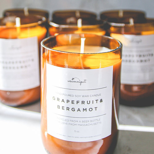 Grapefruit & Bergamot Scented Upcycled Glass Bottle Candle