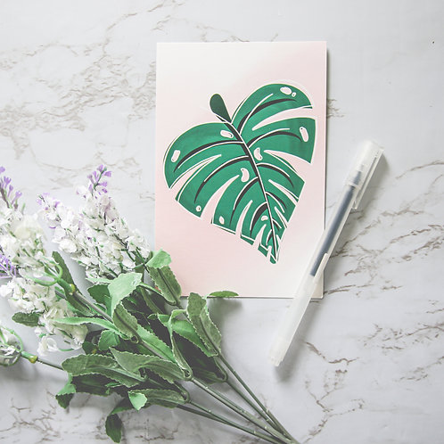 "4"" x 6"" Monstera Leaf Matte Notecards (Single or Set of 10)"
