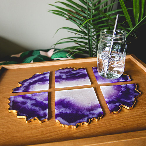 XL Geode Resin Coaster Set of 6 (Assorted Colors)