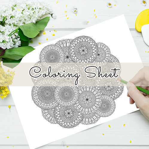 Mandala Circle Coloring Sheet (Digital Download)