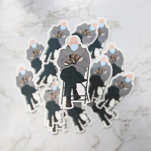 Bernie Mittens Meme Sticker (Glossy, Vinyl)