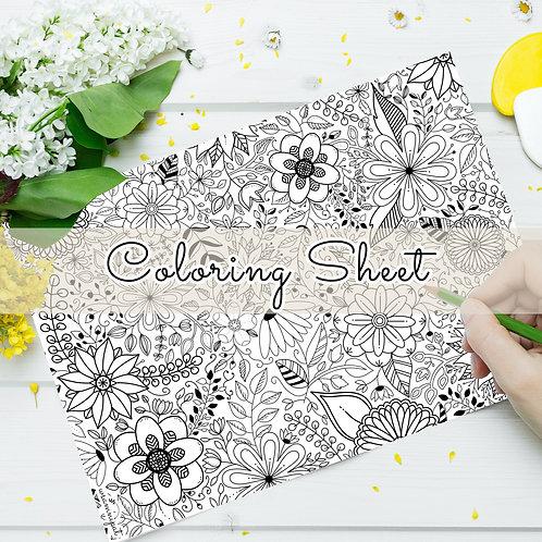 Floral Coloring Sheet (Digital Download)