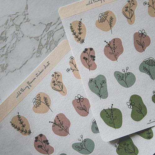 Wild Thing Flower Sticker Sheet