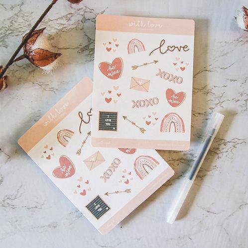 With Love Sticker Sheet (Valentine's)