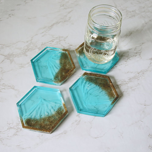Beach Side Resin Coaster Set of 4 (Hexagon)