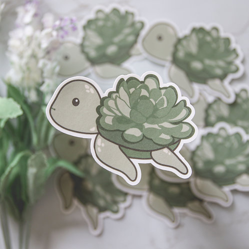 Succulent Turtle Sticker (Glossy)
