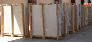 Egyptian marble Slabs packed inside wooden bundles