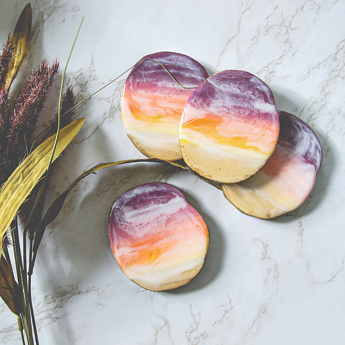 Sunset Beach Waves Wood + Resin Coaster Set of 4