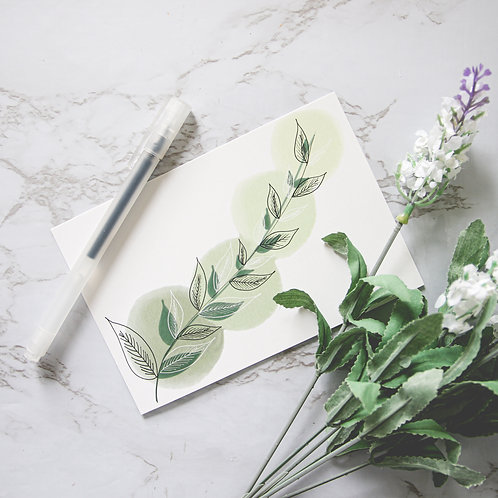 "4"" x 6"" Leaf & Vine Matte Notecards (Single or Set of 10)"