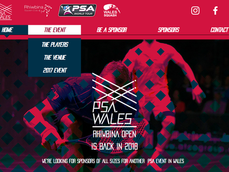 New website and marketing for squash event in Cardiff