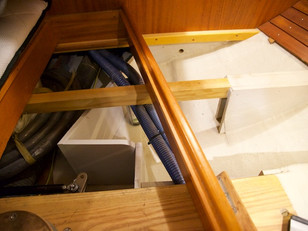 Bulkheads have been installed under the aft cabin berths