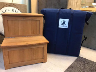 Folding Dockstep in massive teak with Stowage Bag