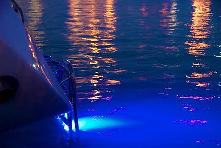 Underwater light on a Hallberg Rassy boat